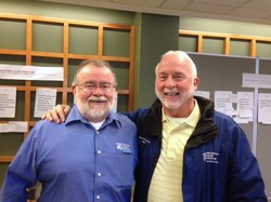 The retiring John Robinson (left) and his successor at Presbyterian Disaster Assistance, Rick Turner.